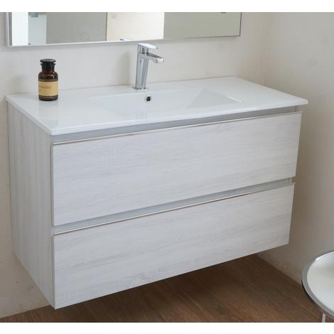 BADRUM - Conjunto Mueble de Baño 2 cajones color Roble Blanco