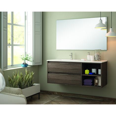 BADRUM - Conjunto Mueble de Baño 2 cajones y 1 abierto color Roble Tabaco