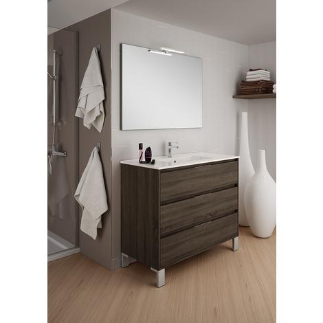 BADRUM - Conjunto Mueble de Baño 3 cajones color Roble Tabaco