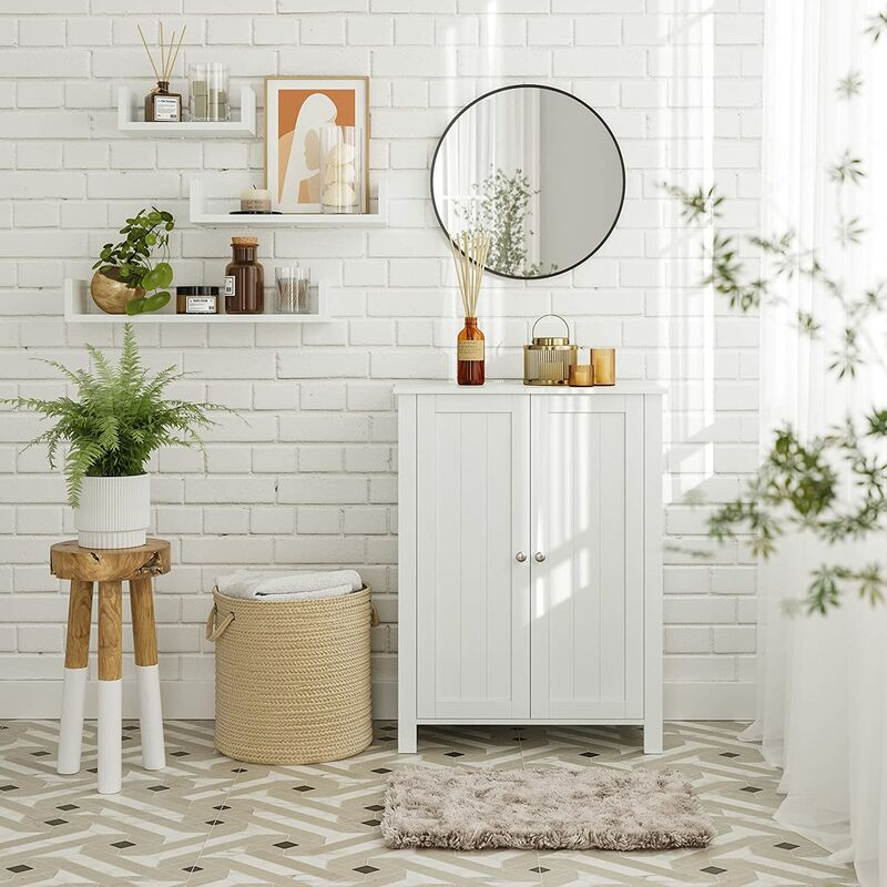 Badschrank Badezimmerschrank Schuhschrank Regal Aufbewahrungmit Doppeltur 2 Verstellbare Einlegeboden Weiss 60 X 80 30cm BCB60W