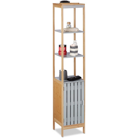Badschrank hoch, höhenverstellbare Schrank Einlage, 4 Regalfächer, Bambus, MDF, HBT 159x30x30 cm, natur-grau