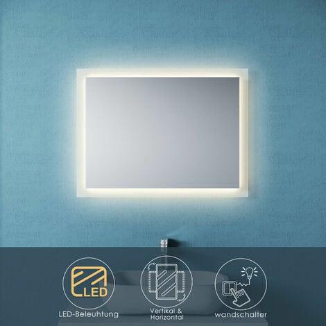 Badspiegel LED 80x60 mit Beleuchtung Wandspiegel Badezimmerspiegel Lichtspiegel