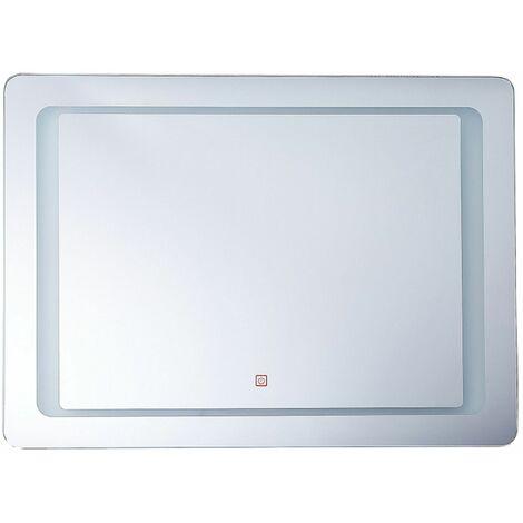 Badspiegel LED-Beleuchtung rechteckig 80x60 cm Antibeschlagsystem Wassy