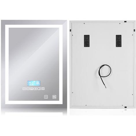 Badspiegel mit Beleuchtung, Bluetooth Lautsprechern und Touch Control Dimmbar (60x80cm)