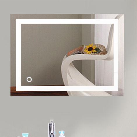 Badspiegel mit Beleuchtung,Badezimmerspiegel mit Beleuchtung,badezimmerspiegel LED Touch (500mm*700mm)