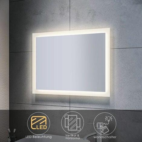 Badspiegel mit LED Beleuchtung Badezimmerspiegel Wandspiegel Lichtspiegel 80x60