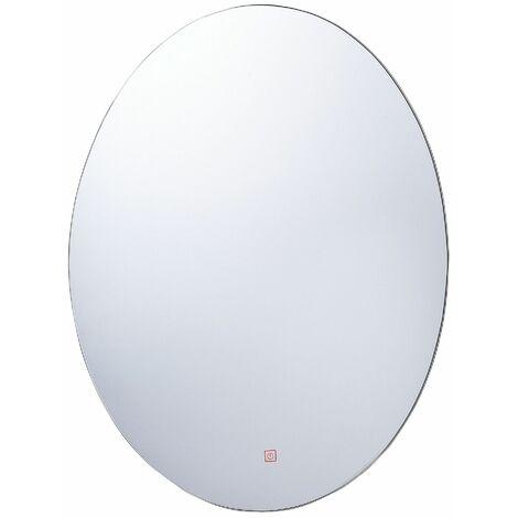 Wandspiegel 80 x 60 cm mit LED Beleuchtung Oval Antibeschlagsystem Touch Sensor Modern