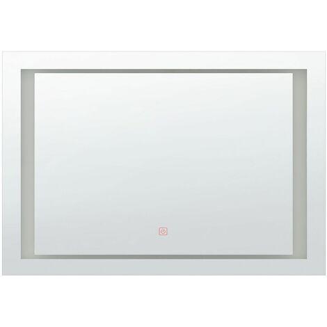 Badspiegel Silber 80 x 60 cm Kunststoff mit LED Beleuchtung Rechteckiger Modern