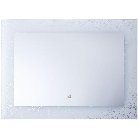 Wandspiegel 80 x 60 cm Silber Rechteckig mit LED Beleuchtung Antibeschlagsystem Touch Sensor-Schalter Dekorativ Modern