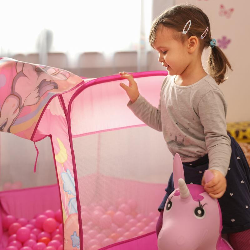 Spielzeug für draußen Bällebad Einhorn mit 100 Bällen Spielzelt rosa Pop Up Ballpool Indoor Outdoor