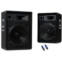 Baffles 1600 watts pair haut-parleurs musique OMNITRONIC DX-1522 + prise PA