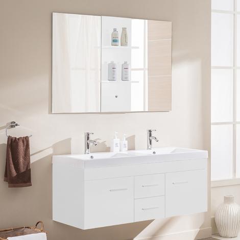 Baghéra blanc : Ensemble de salle de bain meuble en bois massif ...