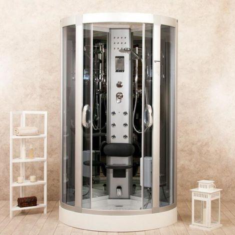 Bagno Italia Box doccia cabina idromassaggio 80x80 90x90 95x95 cm 6 getti cristallo fumè con o senza sauna