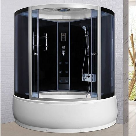 Bagno Italia Box doccia con vasca cabina a 6 getti idromassaggio 135x135 o 150x150 cm bluetooth ozonoterapia cromoterapia