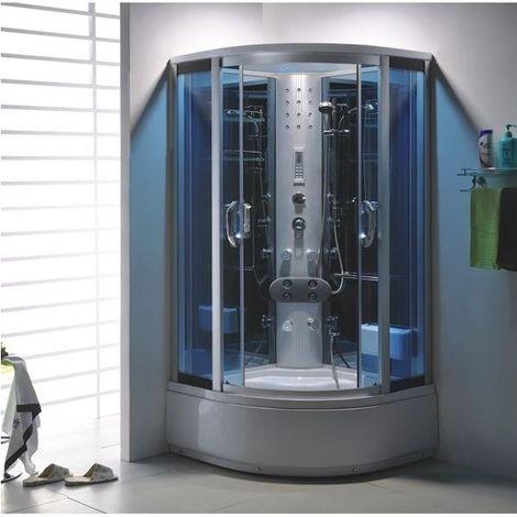 Bagno Italia box doccia idromassaggio cm 90x90 o 100x100 cabina con vasca 6 getti cromoterapia disponibile anche con bagno turco