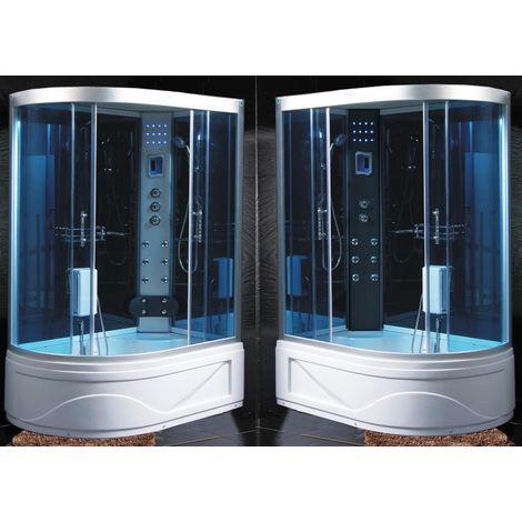 Bagno Italia Box Idromassaggio cabina doccia multifunzione 130x85, 120x85, 115x90 cm versione destra o sinistra con Vasca bagno turco sauna