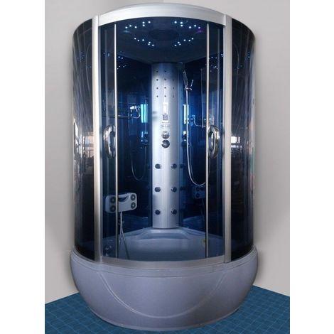 Bagno Italia Cabina doccia idromassaggio 120x120 semicircolare 6 idrogetti luce led cromoterapia