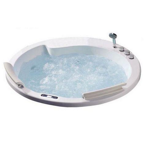 Bagno Italia Vasca da bagno 160 cm circolare installazione ad incasso dotata di riscaldatore e 22 getti
