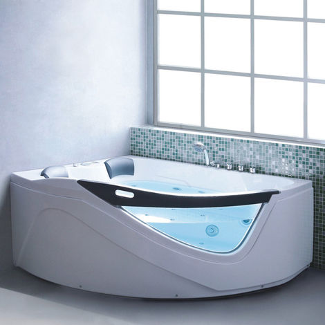 Bagno Italia Vasca da bagno angolare idromassaggio ad aria e acqua 2 posti 170x150x70 cm