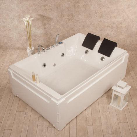 Bagno Italia Vasca da bagno Idromassaggio a 8 idrogetti 185x123 cm cromoterapia standard o con riscaldatore