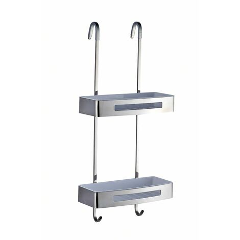 Bagno Stainless Steel Hanging 2-Tier Shower Caddy, Removable Tray Inserts, Easy Clean, Double Hooks