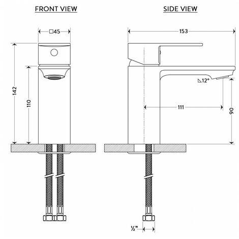 BAGNODESIGN Zephyr mono smooth bodied basin mixer Matt Black