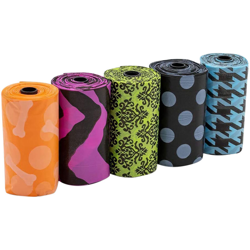 Image of Patterned Dog Poop Bags (Pack of 140) (One Size) (Multicoloured) - Bags On Board