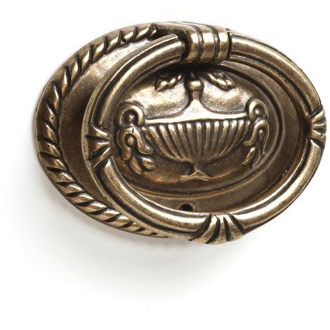 Bague en zamak avec finition en cuir, dimensions: 62x42x12mm - talla