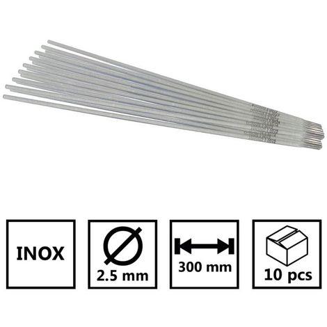 Baguettes inox 2.5 x 300mm-Electrode soudure à l'arc inox-Blister de 10 baguettes enrobées-soudage qualité 308 LSI-soudure mma - Conditionnement: 10 pièces
