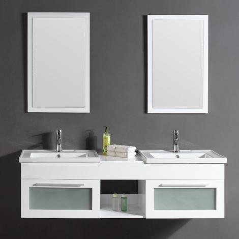 Bahamas blanc : Ensemble de salle de bain meuble en bois massif laqué + 2  vasques en céramique + 2 miroirs