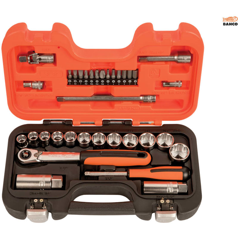 Image of 34 PIECE SOCKET & MECH SET - Bahco