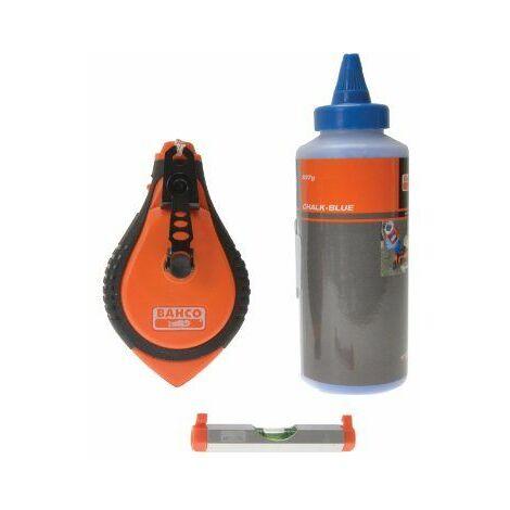 Bahco CLSET Kit de marquage avec craie bleue / cordeau à craie / niveau (Import Grande Bretagne)