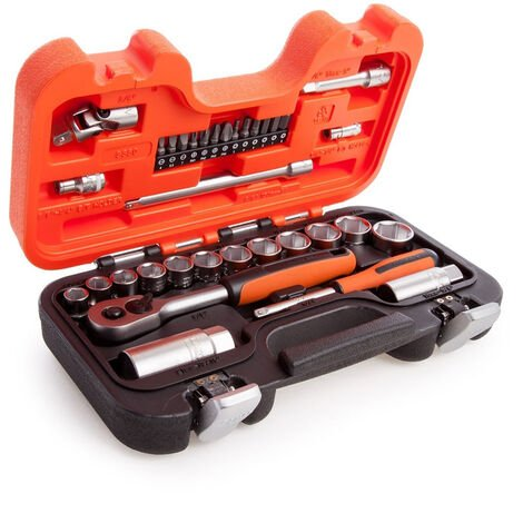 """Bahco S330 1/4"""" and 3/8"""" Square Drive Socket Set with Metric Hex Profile and Ratchet 34pcs"""