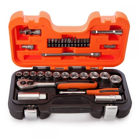 "Bahco S330 33 Piece 1/4"" and 3/8"" Drive Socket Set in Carry Case"
