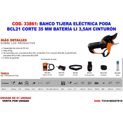 BAHCO TIJERA ELECTRICA PODA BCL21 CORTE 35 MM BAT LI 3.5AH CINTU