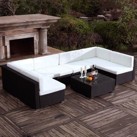 Bahru Noir/Blanc : grand salon de jardin en résine tressée 6 ...