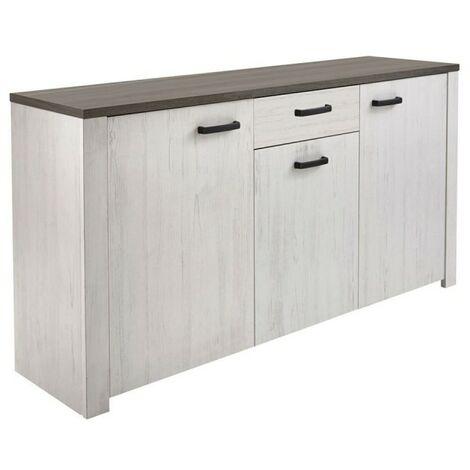 Bahut VALET 3 portes / 1 tiroir pin andersen / chêne prata - Blanc