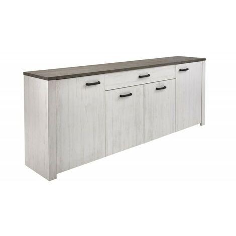 Bahut VALET 4 portes / 1 tiroir pin andersen / Chêne prata - Blanc
