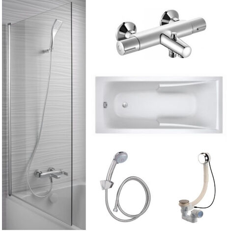 Baignoire acrylique Jacob Delafon, mitigeur bain douche mural, pare bain et accessoires