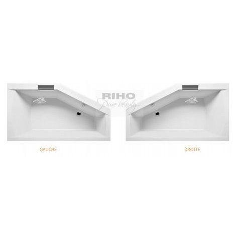 Baignoire acrylique RIHO GETA d'angle 160x90 cm avec une poignée intégrée