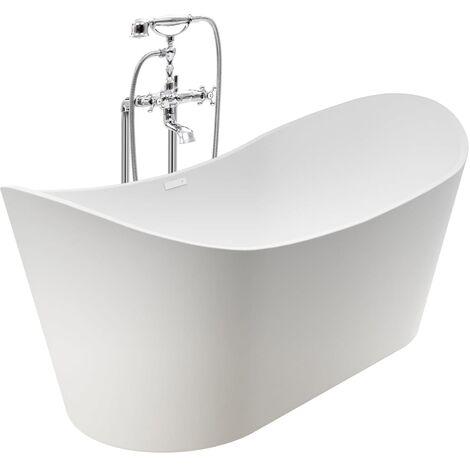 Baignoire autoportante et robinet 204 L 99,5 cm Argenté