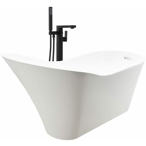 Baignoire autoportante et robinet 210 L 90 cm Noir