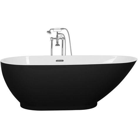 Baignoire autoportante moderne noire de forme ovale
