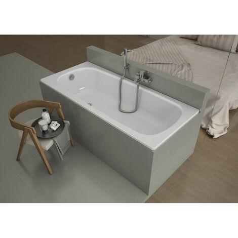 Baignoire AVIZORIA en acier émaillé 140/150/160/170x75 cm fond anti derapant rugueux - Dimensions: 150cm - Noir