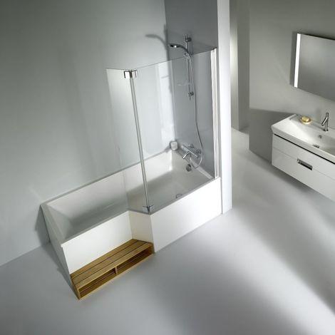 Baignoire bain-douche NEO Jacob Delafon complète avec pare-bain et habillage, version droite