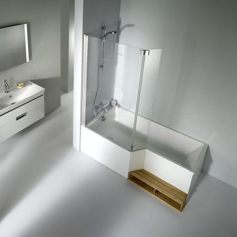 Baignoire bain-douche NEO Jacob Delafon complète avec pare-bain et habillage, version gauche