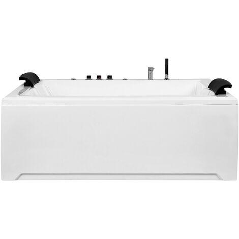 Baignoire balnéo blanche avec hydromassage et éclairage LED
