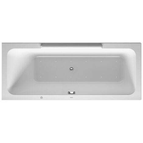Baignoire balnéo Duravit DuraStyle 1600x700mm, version encastrée ou pour habillage de baignoire, 1 dossier incliné à gauche, cadre, robinetterie d'écoulement et de trop-plein, système jet - 760292000JS1000