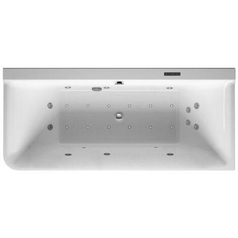 Baignoire balnéo Duravit P3 Comforts 1800 x 800 mm, angle droit, revêtement acrylique sans joint, cadre, deux sections inclinées vers l'arrière, kit d'évacuation et de trop-plein, Combi-System L - 760380000CL1000