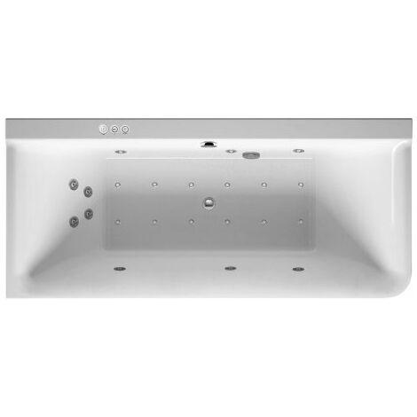 Baignoire balnéo Duravit P3 Comforts 1800 x 800 mm, angle gauche, habillage acrylique sans joint, cadre, deux inclinaisons arrière, kit d'écoulement et de trop-plein, Combi-System P - 760379000CP1000